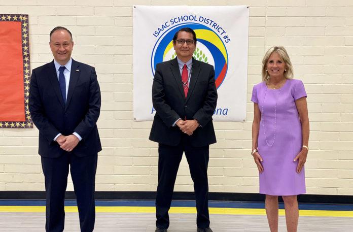 U.S. Second Gentleman Douglas Emhoff, Navajo Nation President Jonathan Nez, and U.S. First Lady Jill Biden